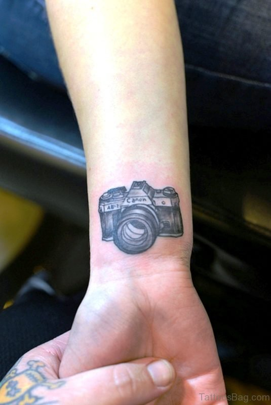 Cute Camera Wrist Tattoo