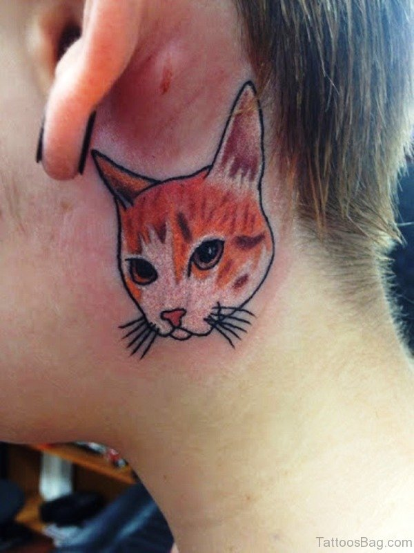 Cute Cat Face Tattoo On Neck