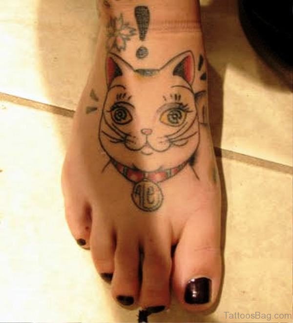 Cute Cat Tattoo On Foot