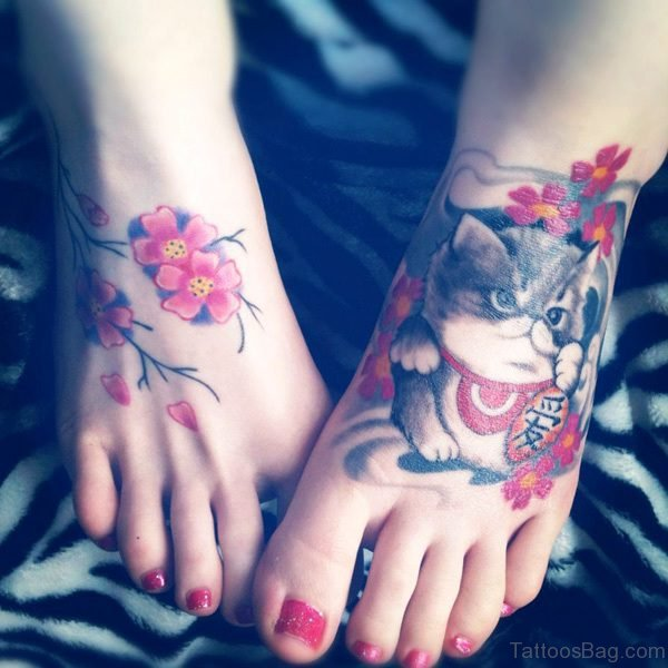 Cute Cat With Flowers Tattoo On Foot