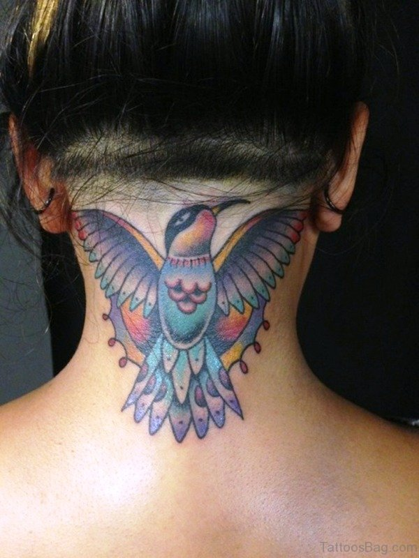 Cute Colorful Bird Tattoo On Neck