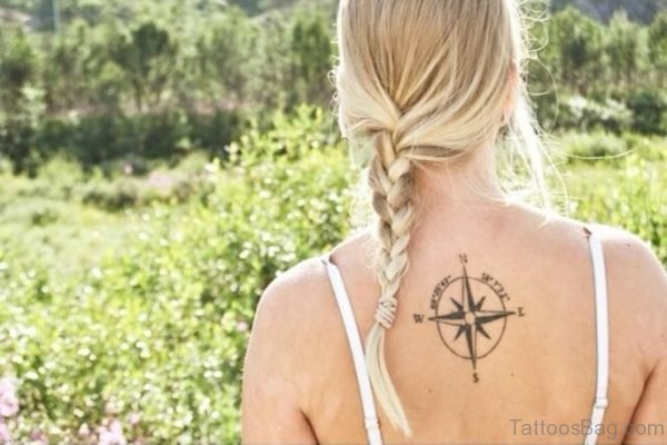 Cute Compass Tattoo On Back