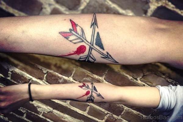 Cute Cross Arrow Tattoo On Arm