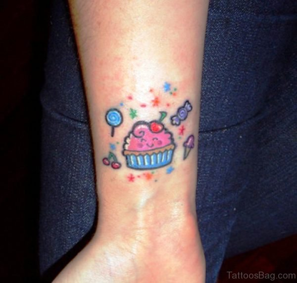 Cute Cupcake Tattoo On Wrist
