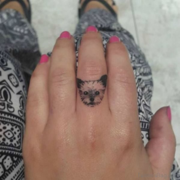 Cute Dog Face Tattoo On Middle Finger