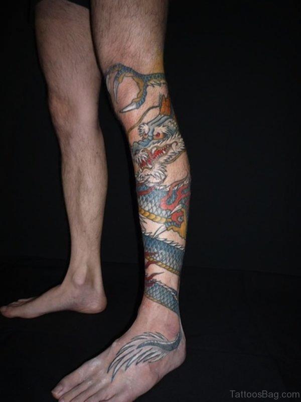 Cute Dragon Tattoo Design On Leg