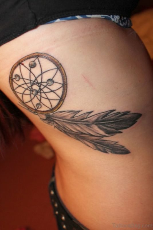 Cute Dreamcatcher Tattoo On Rib