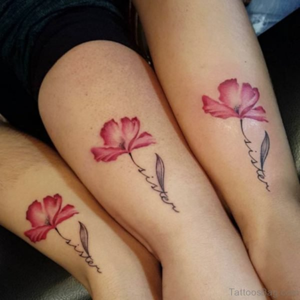 Cute Flower And Sister Tattoo