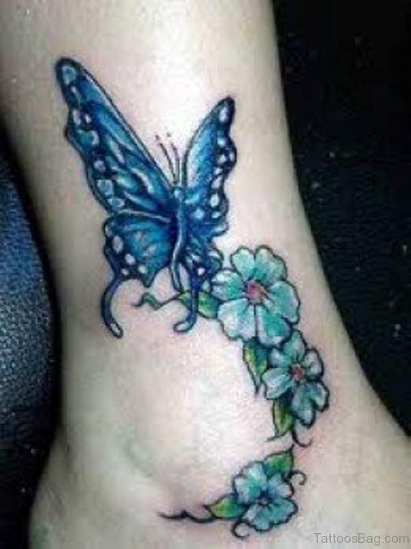 Cute Flowers And Butterfly Tattoos