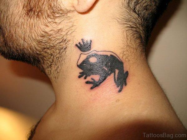Cute Frog Neck Tattoo