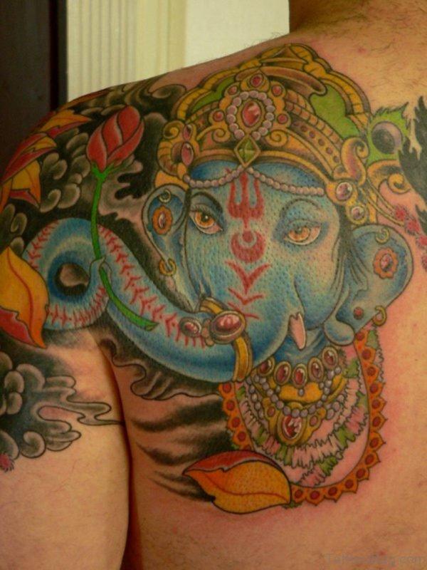 Cute Ganesha Tattoo On Back