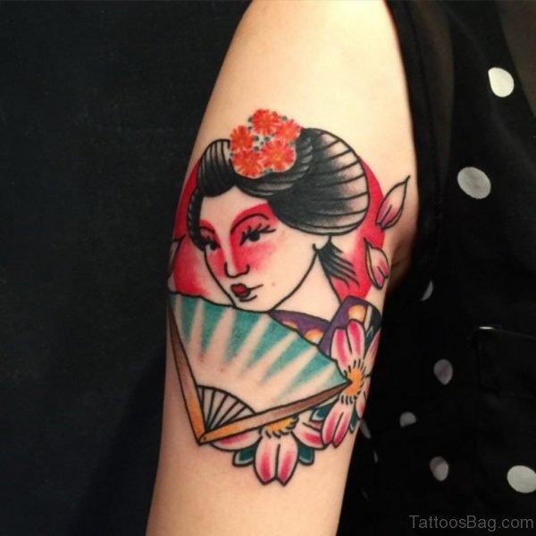 Cute Geisha Girl Tattoo On Shoulder
