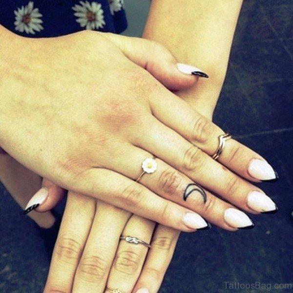 Cute Half Moon Tattoo On Finger
