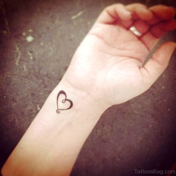 Cute Heart Tattoo On Wrist