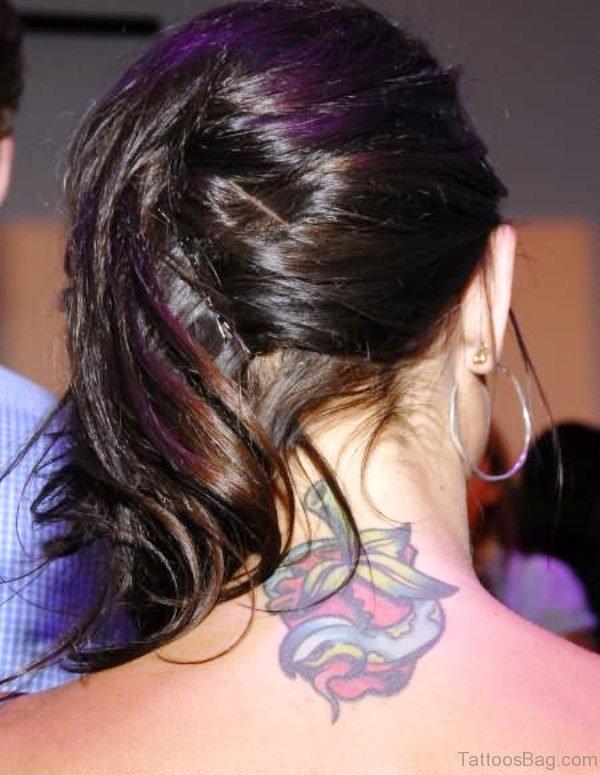 Cute Lotus Neck Tattoo