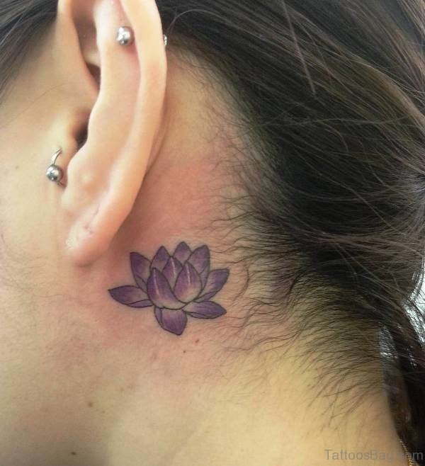 Cute Lotus Neck Tatttoo
