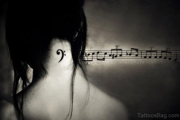 Cute Music Tattoo On Neck
