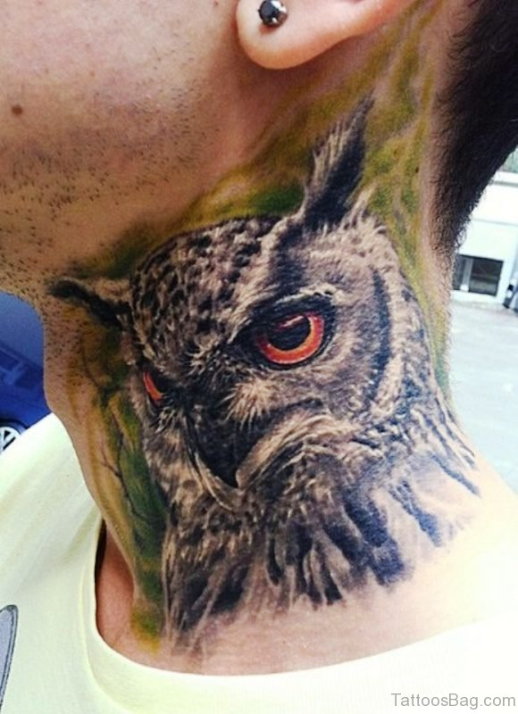 Cute Owl Neck Tattoo Design