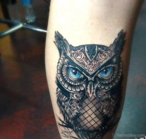 Cute Owl Tattoo On Leg
