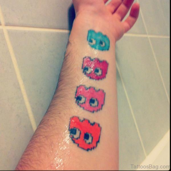 Cute Pacman Wrist Tattoo