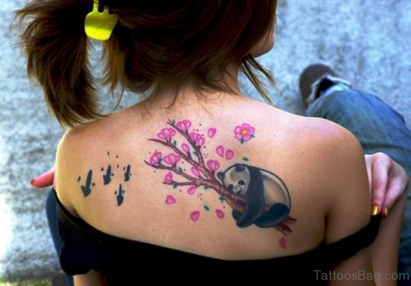 Cute Panda Tattoo On Shoulder Back