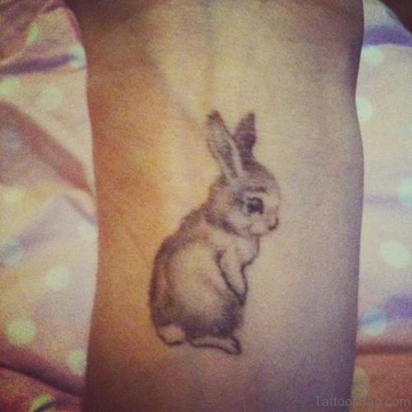 Cute Rabbit Tattoo On Wrist