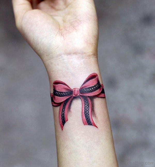Cute Red Ribbon Wrist Tattoo