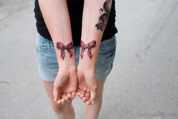 Cute Ribbon Wrist Tattoo