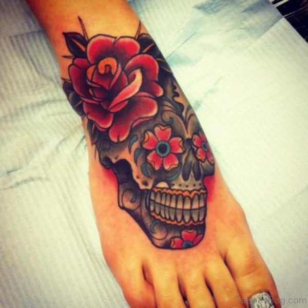 Cute Rose And Skull Tattoo