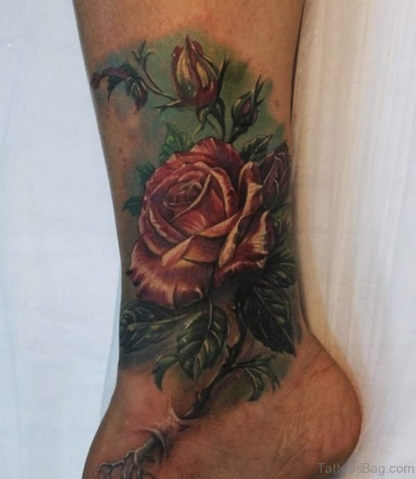 Cute Rose Tattoo On Ankle Image
