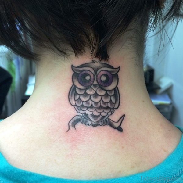 Cute Small Owl Tattoo Design