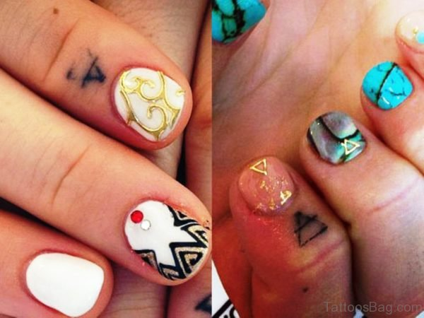 Cute Small Triangle Tattoo On Finger