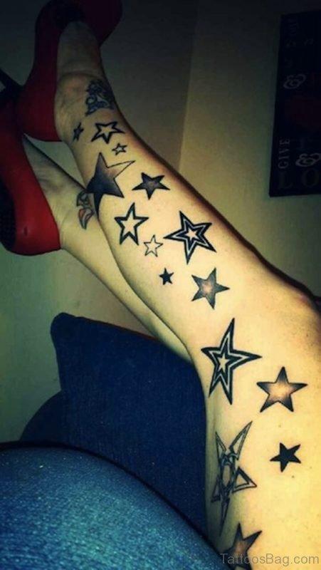 Cute Stars Tattoo On Leg