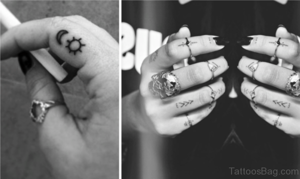 Cute Sun And Moon Tattoo On Finger