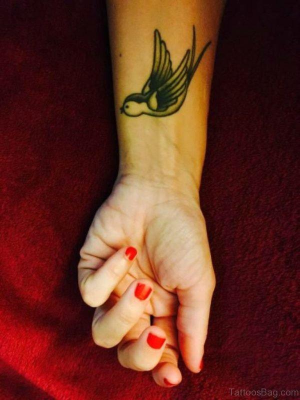 Cute Swallow Tattoo On Wrist