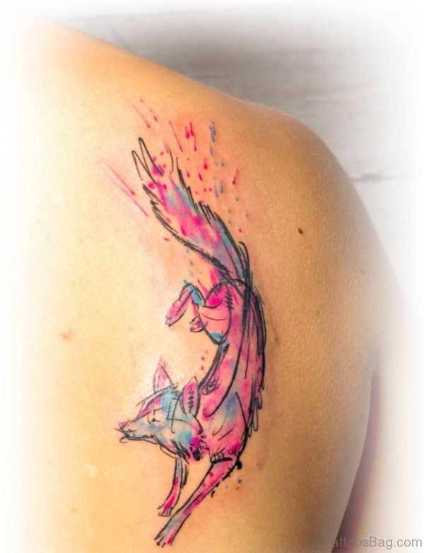 Cute Watercolor Fox Tattoo On Right Back Shoulder