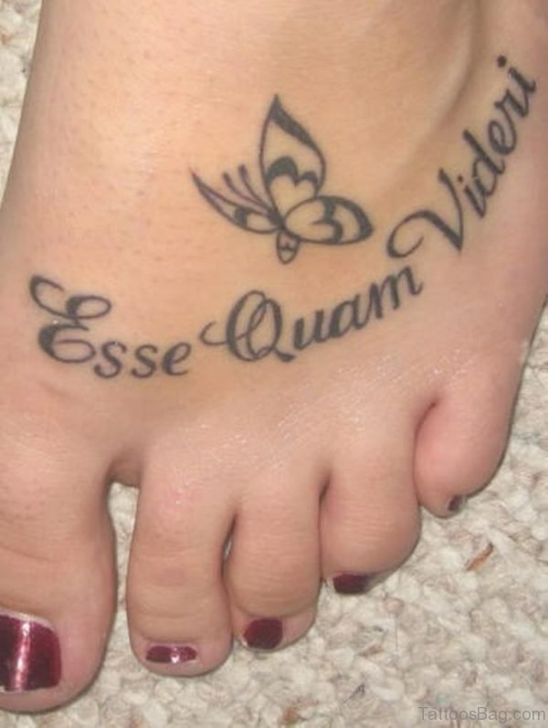 Cute Wording Tattoo For Foot