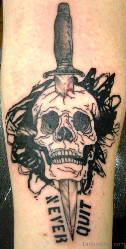 Dagger Stabbed In Skull On Arm