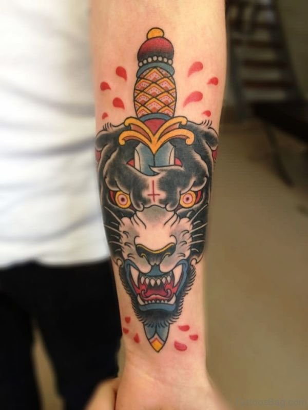Dagger With Angry Panther Tattoo On Arm