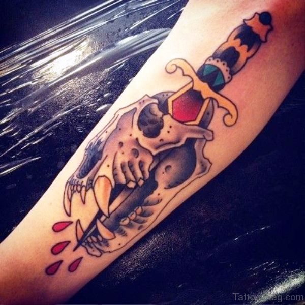 Dagger With Lion Skull On Arm