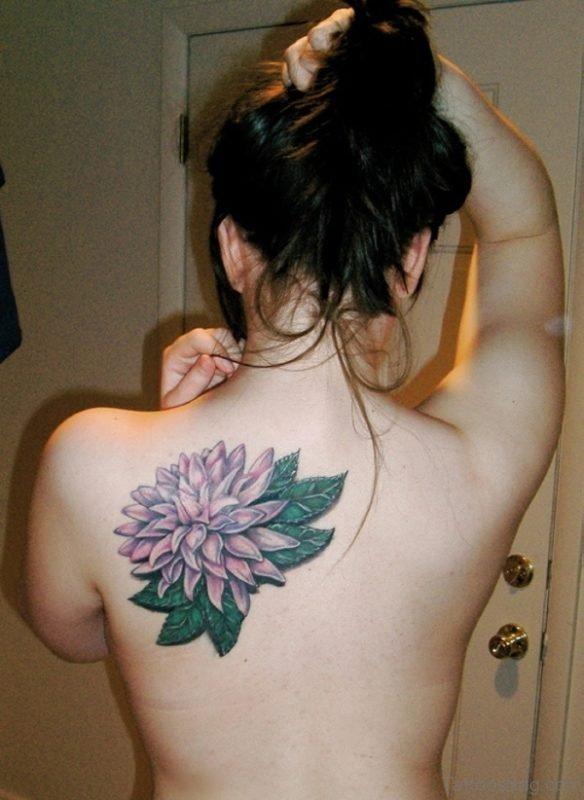 Dahlia Flower Shoulder Blade Tattoo