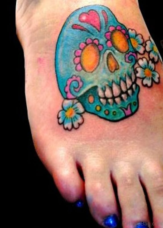 Daisy Flowers And Skull Tattoo