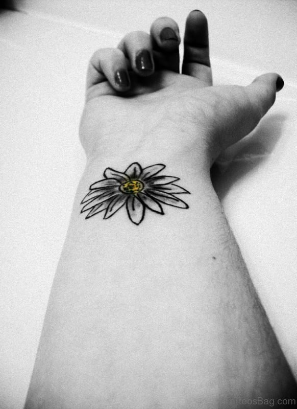 Daisy Outline Tattoo On Wrist