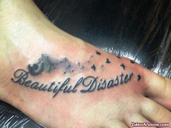Dandelion Beautiful Disaster Tattoo On Foot