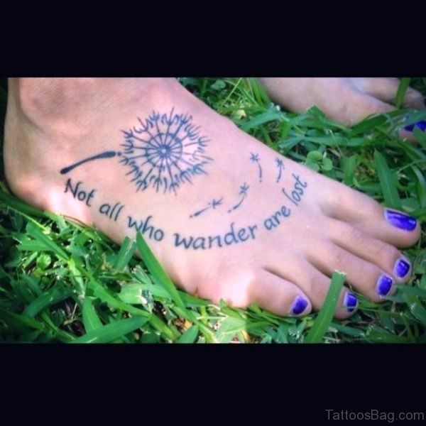 Dandelion With Quote On Foot