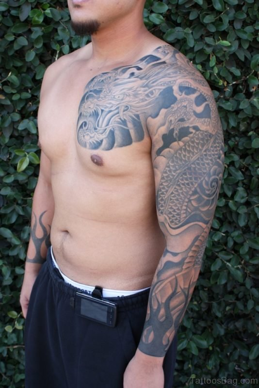Dargon And Tribal Tattoo
