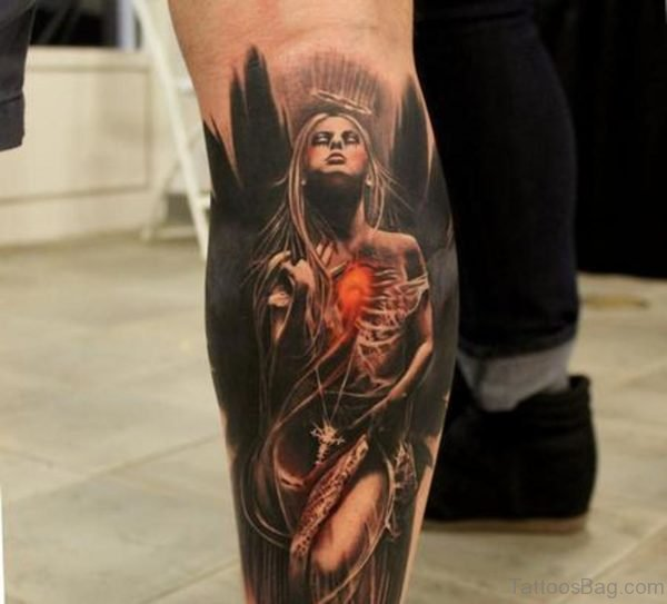 Dark Angel Tattoo On Leg