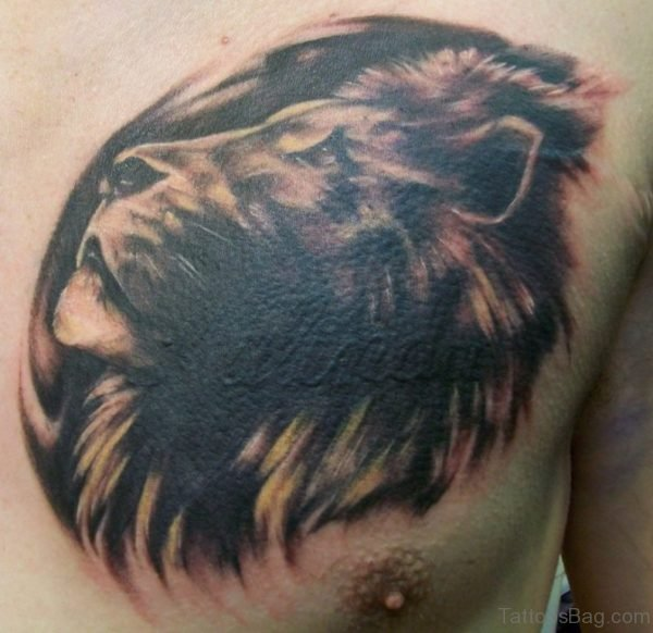 Dark Black Lion Head Tattoo