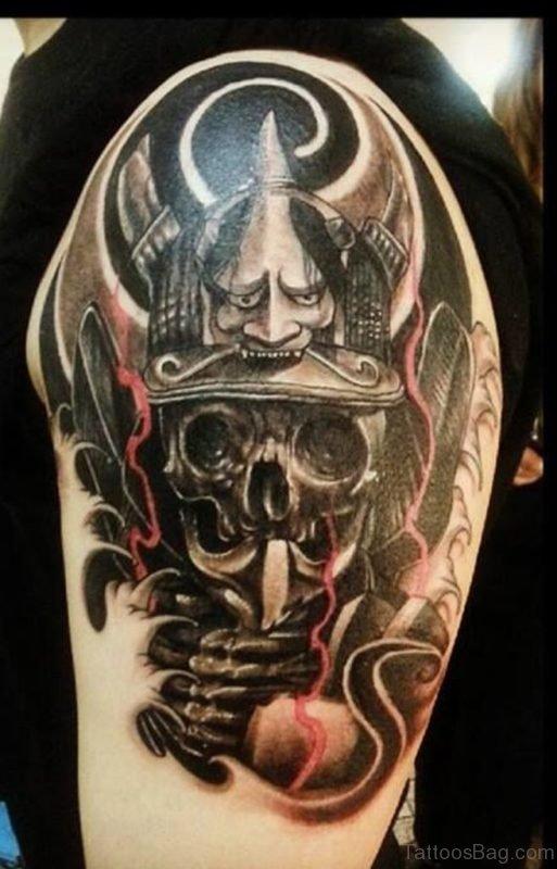 Dark Ink Hannya Tattoo On Left Shoulder
