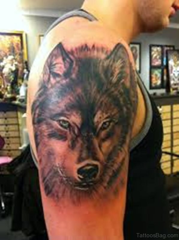 Dark Ink Wolf Tattoo On Left Shoulder For Men